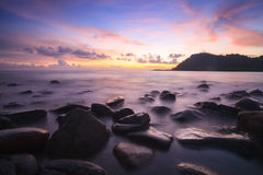 Sunset and sea wave. In Koh Kood , Thailand Royalty Free Stock Photography