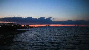 Sunset and sea waves in the Mediterranean Sea stock video footage
