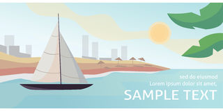 Sunset at sea with yachts. Vector illustration Stock Photo