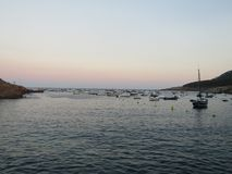 Sunset on the seafaring coast royalty free stock photo