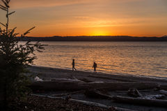 Sunset At Seahurst Park. Two people stroll along the shore as the sun sets at Seahurst Park in Burien, Washington stock photos