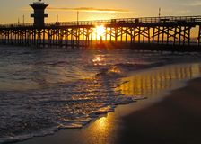 Sunset on the Seal Beach Pier Stock Photos