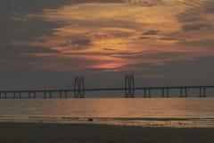 Sunset at Sealink Mumbai royalty free stock image