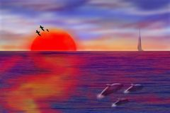 Sunset Seascape. Computer generated illustration of a tropical sunset over the sea stock illustration
