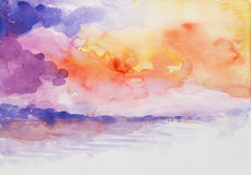 Sunset seascape colorful watercolor painted Royalty Free Stock Photography