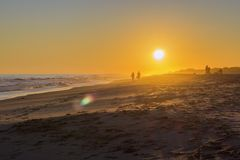Sunset seascape of famous Montegordo beach, Algarve. Portugal Royalty Free Stock Image