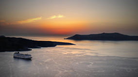 Sunset, Seascape, Santorini Island, Travel Stock Photo