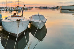 Sunset seascape with small boats at the port of Sozopol, Bulgaria Royalty Free Stock Images