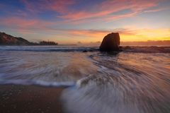 Sunset, Seascape, Water Motion Royalty Free Stock Images