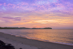 Sunset seascapes rock in water beach asia Royalty Free Stock Photo
