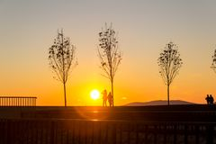 Sunset at the Seaside. Backlight style. Stock Photos