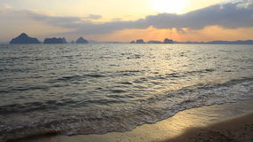 Sunset at seaside beach in Krabi,Thailand. stock footage