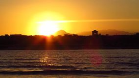 Sunset at the seaside stock footage