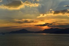 Sunset of Seaside in Namhae Stock Images