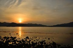 Sunset of seaside in Namhae Royalty Free Stock Photo