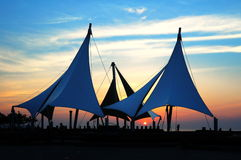 Sunset in the seaside resort Square Stock Image