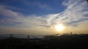 Sunset seaside urban skyline & forest. stock video