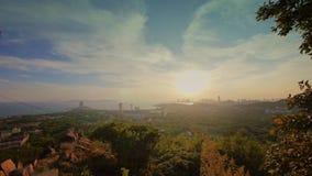 Sunset seaside urban skyline & forest,QingDao(tsingtao). stock video footage