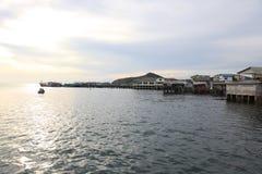 Sunset. Seaview fishing village Royalty Free Stock Photo