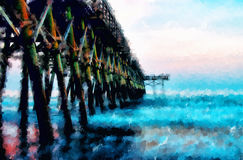 Sunset at Second Avenue Pier in Myrtle Beach South Carolina. Digitally hand painted photograph of the second avenue pier in Myrtle Beach South Carolina at sunset Stock Photo