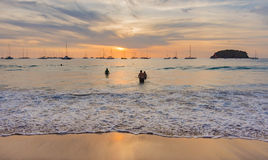 Sunset seen from kata beach  in Phuket, Thailand Stock Photography