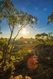 Sunset seen from Mt Tibrogargan, Glass House Mountains, Sunshine stock photo