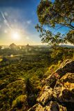 Sunset seen from Mt Tibrogargan, Glass House Mountains, Sunshine Royalty Free Stock Image