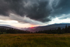 Sunset seen from Prislop Pass Royalty Free Stock Photo