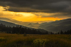 Sunset seen from Prislop Pass Stock Photo