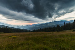 Sunset seen from Prislop Pass Stock Photos