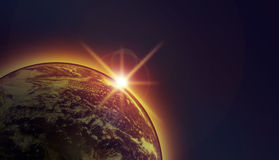 Sunset seen in space Stock Photos