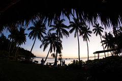 Sunset Seen From Tropical Island in Fiji Royalty Free Stock Photography