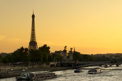 Sunset Seine River Stock Image