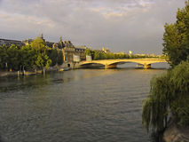 Sunset on the Seine river Stock Images