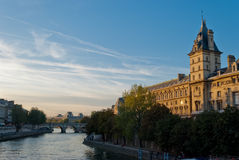 Sunset on Seine river, Paris Stock Photo
