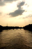 Sunset on the Seine river Paris Stock Image