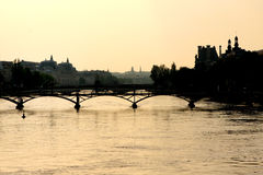 Sunset on the Seine river Paris Royalty Free Stock Photography