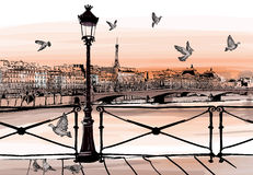 Sunset on Seine river from Pont des arts in Paris Stock Photo