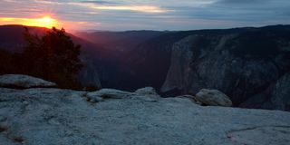 Sunset from Sentinel Dome, Yosemite National Park royalty free stock photos