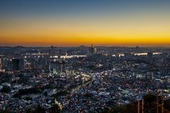 Sunset in Seoul. Sunset city view of Seoul. Suitable for a futuristic o night view for a modern city Royalty Free Stock Images