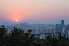 Sunset at Seoul city Royalty Free Stock Photo