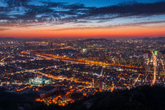 Sunset at seoul city and Downtown skyline in Seoul, South Korea Royalty Free Stock Photos