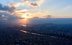 Sunset the seoul city and Downtown skyline in Seoul. South Korea Royalty Free Stock Image