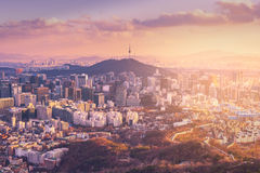 Sunset at Seoul City Skyline, The best view of South Korea Royalty Free Stock Photography