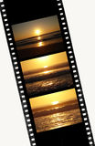 Sunset sequence in film of 35mm. Film of 35mm with image of Sunset sequence Royalty Free Stock Photos