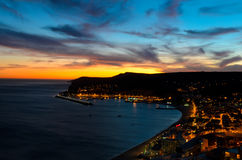 Sunset in Sesimbra, Portugal Royalty Free Stock Images