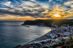 Sunset in Sesimbra, Portugal Royalty Free Stock Photo