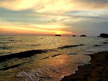 Sunset. Sew, beach, landscapecityscape, view royalty free stock photos