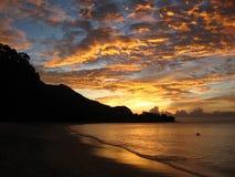 Sunset in Seychelles. Amazing sunset on Beau Vallon beach, Seychelles Royalty Free Stock Photos