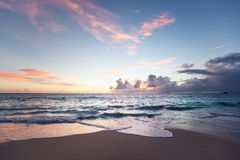 Sunset on Seychelles beach Royalty Free Stock Photo